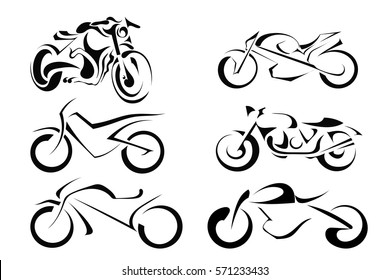 Set of vector motorcycles on a white background. Abstract motorbike silhouette. Stock vector illustration