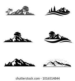 Set of vector mountain and outdoor adventures logo. Tourism, hiking and camping labels. Mountains and travel icons