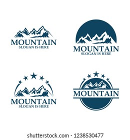 Set of vector mountain and outdoor adventures logo. Tourism, hiking and camping labels. travel icons for tourism organizations, outdoor events and camping leisure logo design