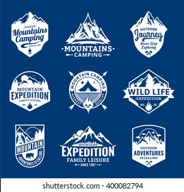 Set of vector mountain and outdoor adventures logo.