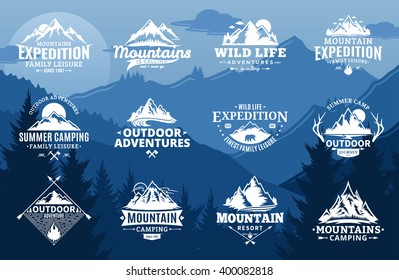 Set of vector mountain and outdoor adventures logo on mountain landscape background.