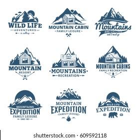 Set of vector mountain and outdoor recreation logo
