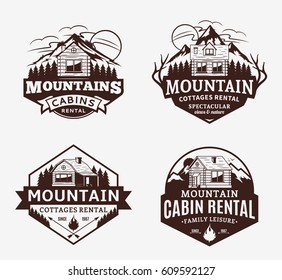 Set of vector mountain recreation and cabin rentals logo
