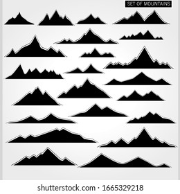 Set of vector mountains in black and white colors