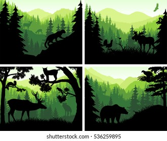 set of vector mountains woodland animals silhouettes in sunset design templates