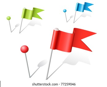 set of vector multicolored ball and flag pins
