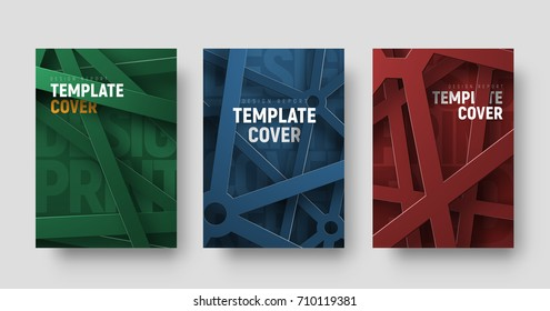 set of vector multicolored covers in a futuristic style with intersecting abstract lines and text between them. Design templates for printing flyers, books, brochures or reports.
