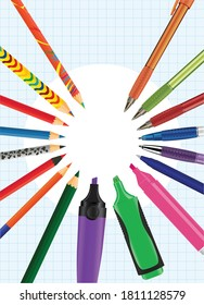 Set of vector multi-colored pencils, pens, felt-tip pens and highlighters on the background of a notebook sheet. Concept of stylish school, creative poster. Advertising of writing utensils. Stationery