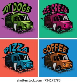 set of vector multicolored templates for fast food cars.