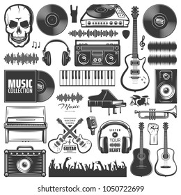 Set of vector music elements. Music icons for audio store, recording studio label, podcast and radio station. Set of badges and logos of music. The collection of symbols and emblems for printing.