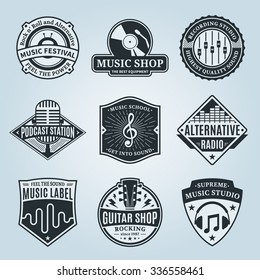 Set of vector music logo. Music studio, festival, radio, school and shop labels
