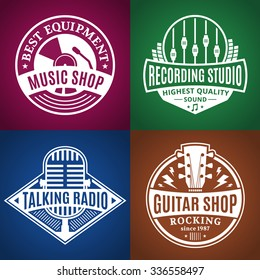 Set of vector music logo. Music studio, radio and shop labels