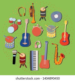 Set of vector musical instruments. Hand drawn sketch collected in a circle border. green background. Vector design posters, flyers or cards.
