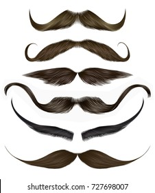 set vector mustache different colors.