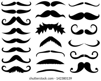 Set of vector mustache on white background