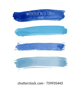 Set of vector navy, turquoise blue watercolor hand painted gradient stripes isolated on white. Abstract collection of fluid ink, acrylic dry brush strokes, stains, spots, geometric horizontal lines.