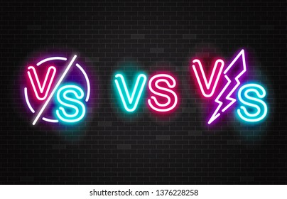 Set of vector neon glowing battles versus signs. Outline set of vs pink and blue symbol for competition, fight, match and championship. Vector versus battle illustration.