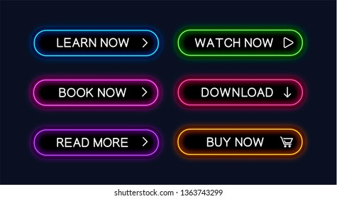 Set of vector neon glowing buttons for web design