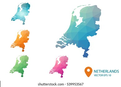 Set of vector Netherlands maps. Bright gradient map of country in low poly style. Multicolored country map in geometric style for your infographics. Vector illustration eps 10.