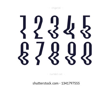Set of vector numbers glitch effect style trendy typography consisiting of 1, 2, 3, 4, 5, 6, 7, 8, 9, 0 for poster, t shirt, book, sale banner, printing on fabric, birthday card. Modern font. 10 eps