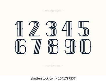 Set of vector numbers vintage style trendy typography consisiting of 1, 2, 3, 4, 5, 6, 7, 8, 9, 0 for poster, t shirt, book, sale banner, printing on fabric, birthday card. Modern font. 10 eps