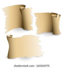Set of the vector old paper sheets