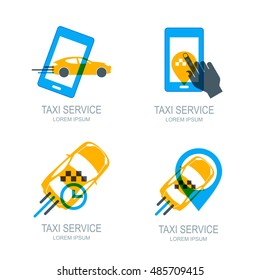 Set of vector online taxi service logo, icons and symbol. Human hand with mobile phone. Taxi app concept. Taxi cab location point. Call taxi via smartphone.