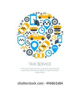 Set of vector online taxi service isolated logo, icons and symbol. Taxi mobile app concept. Call taxi design template.