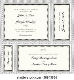 Set of vector ornate frames with sample text. Perfect as invitations or announcements. Background pattern is included as seamless swatch. All pieces are separate. Easy to change colors and edit.