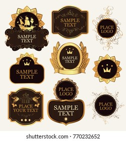 Set of vector ornate label templates in the Baroque style in black and gold colors on a white background