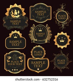 set of vector ornate labels templates in baroque style in black and gold colors