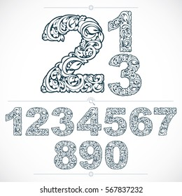 Set of vector ornate numbers, flower-patterned numeration. Black and white characters created using herbal texture.