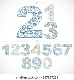 Set of vector ornate numbers, flower-patterned numeration. Blue characters created using herbal texture.