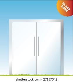 Set of vector outdoor advertising [Glass Doors]