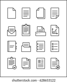 Set of vector outline file management icons, document pictograms. File Icons.