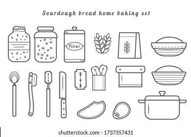 Set of vector outline icons of homemade sourdough bread baking kit. Recipe elements for home baked loaf. Sourdough starter culture in mason jar. Dough scraper. Danish whisk. Proofing basket. Bench kni