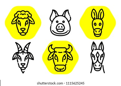 Set of vector outline illustration of farm animals in trendy linear style. Editable flat  icons - Horse pig donkey goat cow and sheep, modern pictogram with rounded stroks.