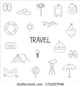 Set of vector outline travel icons. Flat icons. Map, ticket, life buoy, airplane, suitcase, backpack, ice cream, binoculars, palm tree, tent, ship, bikini.