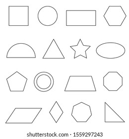 Set of vector outlines of simple flat geometric shapes. Icons linear flat geometric shapes on white background