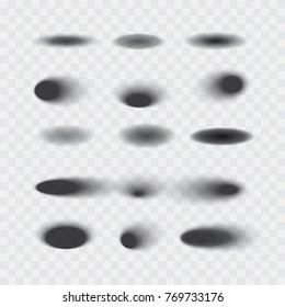 Set of vector oval shadows with soft edges isolated on transparent background, realistic vector illustration