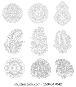 set of vector paisley on outline background