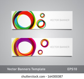 Set of vector paper banners / flyers template with colorful circular shapes background. Can be used for websites or business design