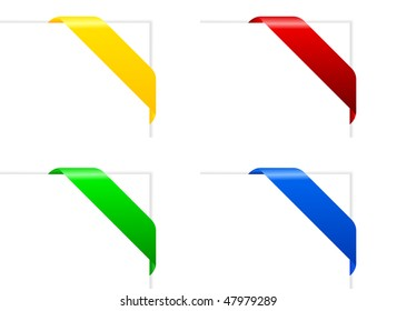 Set of vector paper with color ribbon with copy space for your text