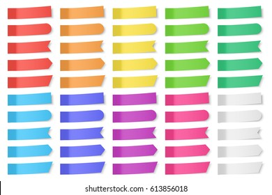Set of vector paper stickers on white background. Colored realistic sticky notes isolated. Big collection of red, orange, yellow, green, blue, purple and gray stickers