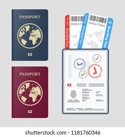 Set Vector passport with tickets  Air travel concept. Flat Design citizenship ID for traveler isolated. Blue international document - passports illustration