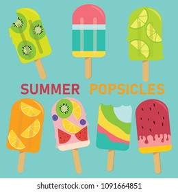 set of vector pastel Popsicle, fruit Popsicle, ice cream, sweet Summer pastel concept