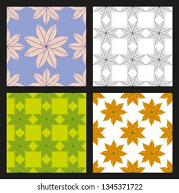 Set of vector pattern, repeating Walnut leaves, floral. graphic clean design for fabric, event, wallpaper etc. pattern is on swatches panel.