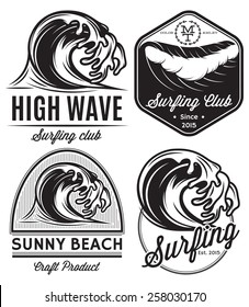 set of vector patterns for design logos on the theme of water, surfing, ocean, sea