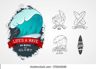 Set of vector patterns for design logos on theme of water, surfing, ocean, sea, palm, ribbon, wave, surfbord. Stylized Design element with lettering.