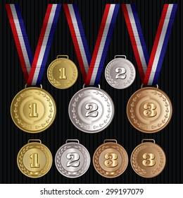 set of vector patterns medals - gold, silver, bronze